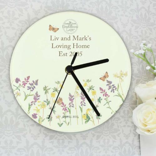 Personalised Country Lady Wild Flowers Glass Clock